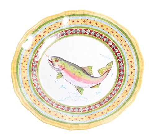 Galleyware Trout Melamine Non-Skid Dinner Plate, Set Of 6