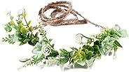 Tieback Flower Crown Flower Headband Baby Girl Toddler Woodland Green Leaf Wreath