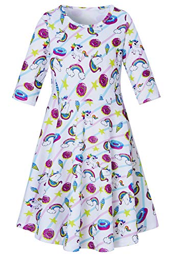 Stylish Star Unicorn Stripe Dress for Preteen Girls Ice Cream Donut Cartoon Printed Autumn Winter Outside Play Dresses Chic Colourful Stripes Street Casucal Frocks Clothes 10-13 Years Old