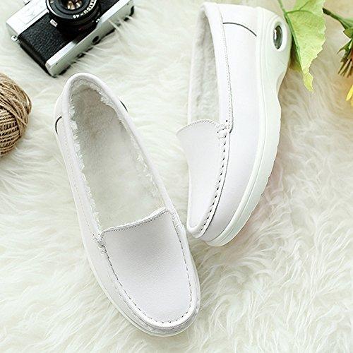 STQ Women Lightweight Platform Nurse Work Shoes Comfort Slip On Leather Nursing Loafers 776 White Plush