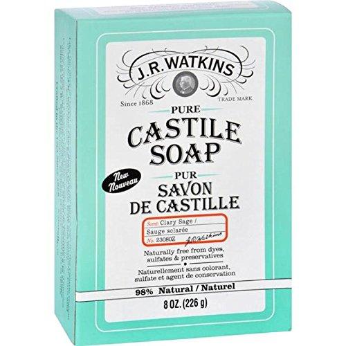 J.R. Watkins - Castile Bar Soap - Clary Sage ( 3 - 8 Oz) (Wholesale Soap Castile)