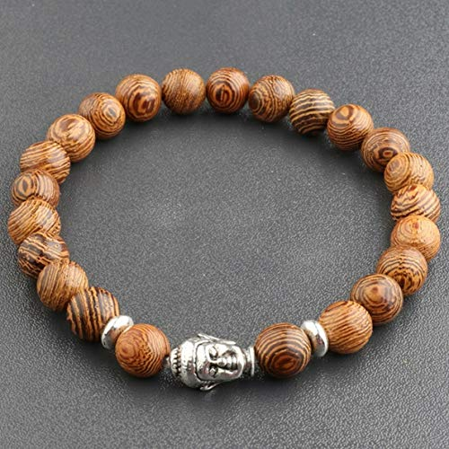 (Werrox 8MM Owl Buddha Beaded Natural Lava Stone Gold Silver Charm Fashion Men Bracelets | Model BRCLT - 3775 |)