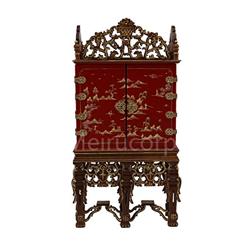 Dollhouse miniature furniture 1/12 scale Deluxe red Hand painted Collection (Collection Red Painted Wood)