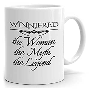 Personalized Womens Gift! Winnifred The Woman the Myth the Legend - Coffee Mug Cup for Mom Girlfriend Wife Grandma Sister - Great in the Morning or the Office