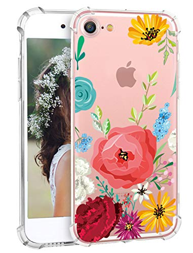 iPhone 8 Case iPhone 7 Case, Hepix Clear Soft Flexible TPU Watercolor Flowers Floral Printed Shock Absorption Technology Bumper Back Case for iPhone 7 [4.7 inch]