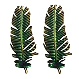 WANDERBAL HOME Decorative Wall Hanging Candle Sconce in Green Leaf Shape,17.7 by 6.8-Inch (Set of 2)