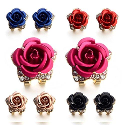 ManxiVoo Bohemia Flower Rhinestone Ear Stud Earrings Women Summer Earrings Jewelry (5 pairs)