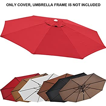 Replacement Patio Umbrella Canopy Cover For 9ft 8 Ribs Umbrella Burgundy ( CANOPY ONLY)