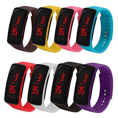 CdyBox 8 Pack Wholesale Men Women Kids Digital Wristwatch Touch Screen LED Bracelet Silicone Band Watch ()