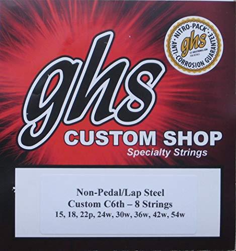 Steel Lap Guitar Acoustic (GHS C6th-8 Lap Steel Guitar Strings- Gauges 15-54W - 2 Sets)