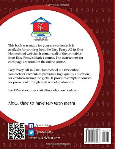 EP Math 1 Printables: Part of the Easy Peasy All-in-One Homeschool ...