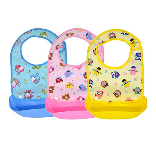 LITTLE GUAI GUAI,6 Month to 6 Year,Unisex,Adjustable and Detachable Bib,Food Grade Silicone,Waterproof,Pack of 3pcs