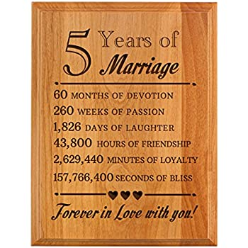 Amazon.com: Kate Posh - Our 5th Anniversary Wooden Plaque: Home ...