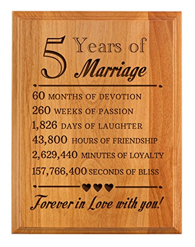 ThisWear 5th Wedding Forever in Love You Wood 7x9 Oak Wood Engraved Plaque Wood