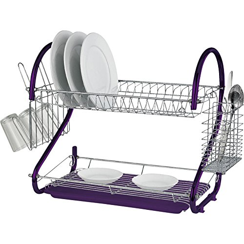 2 Tier Chrome Plate Dish Cutlery Cup Drainer Rack Drip Tray Plates Holder purple Guilty Gadgets