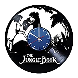 The Jungle Book Cartoon Movie Video Game Handmade Vinyl Record Wall Clock Vin...