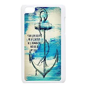 For IPod Touch 4th Anchor Stripe Print Pattern Protective Back Case-Style-15