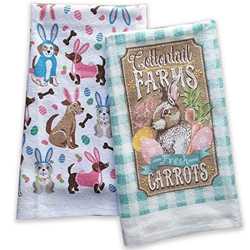 (Mainstream Easter Day 2019 Kitchen Towels Bunny Dogs)