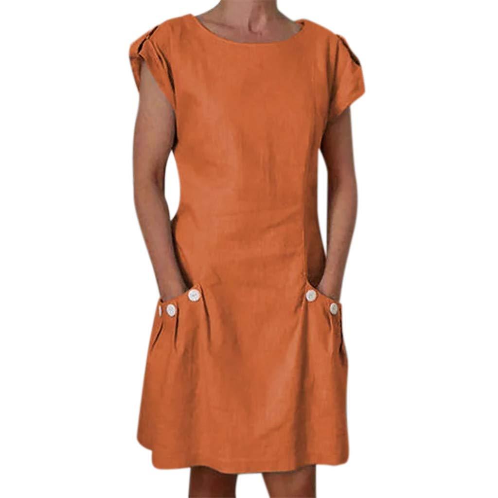 CixNy Rockabilly Kleider Damen, Abendmode Tüllkleid Einfarbig Gekräuselte Taschen O-Neck Button Sommerkleider Abendkleid Weste Cocktailkleider Faltenrock Vest Brautjungfernkleid Crinoline Kleid