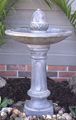 (Exclusive Electric Outdoor LED Lighted Stone Finish Pillar Fountain)