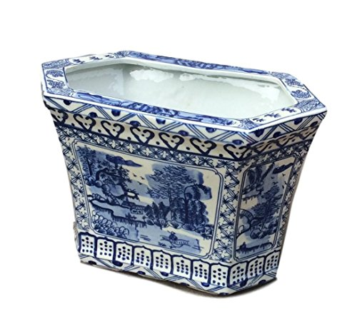 BLUE & WHITE CANTON CACHEPOT PLANTER (Blue And White Canton)