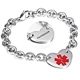 LF 316L Stainless Steel Peacemaker Engraved Medical Alert Heart Charm Link Bracelet Rolo Chain Medic ID Bracelets Monitoring Awareness for Womens for Outdoor Emergency