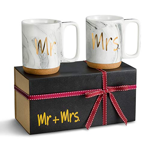 Zi-Rui Mr and Mrs Ceramic Marble Coffee Mugs Set of 2 - Novelty Cups 11 oz With Cork Bottom. Comes In A Gift Box, For Bride and Groom Wedding, Parents, Lovers and Married Couples Anniversary