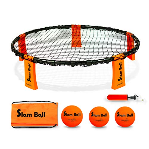 Funsparks Slam Ball with 3 Balls - Spike The Ball into The Net at a Park, Beach, Lawn and Backyard - Volleyball Game Indoor or Outdoor Toy for Older Kids and Adults -
