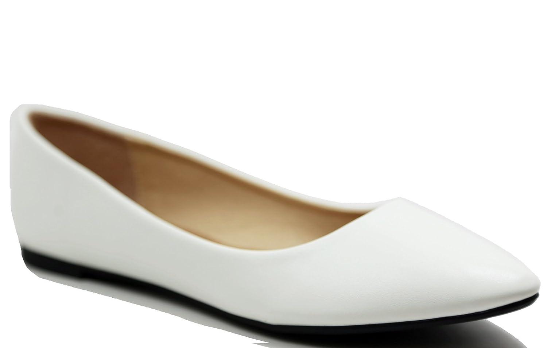 Walstar Women's Basic Point Toe Ballet Flats B00U6MFG7Y 6 B(M) US Pu21-white