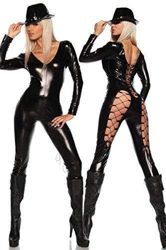Neue Damen Schwarz Wet Look Lace Up Rückseite Jumpsuit Catsuit Spielanzug Bodysuit Club Wear Fancy Kleid Kostüm Gr. UK 8�?0EU 36�?8