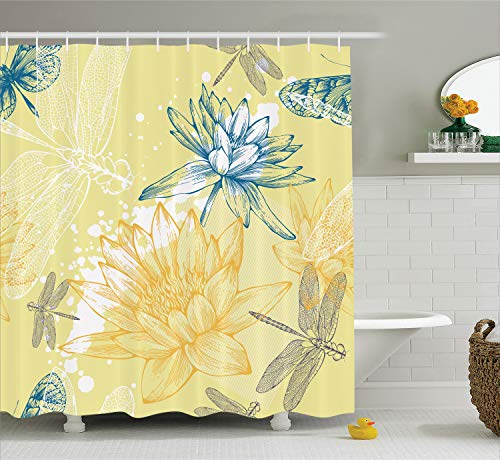 Ambesonne Dragonfly Decor Collection, Boho Style Plants Dragonflies Sketchy Illustration, Polyester Fabric Bathroom Shower Curtain Set with Hooks, Yellow Blue
