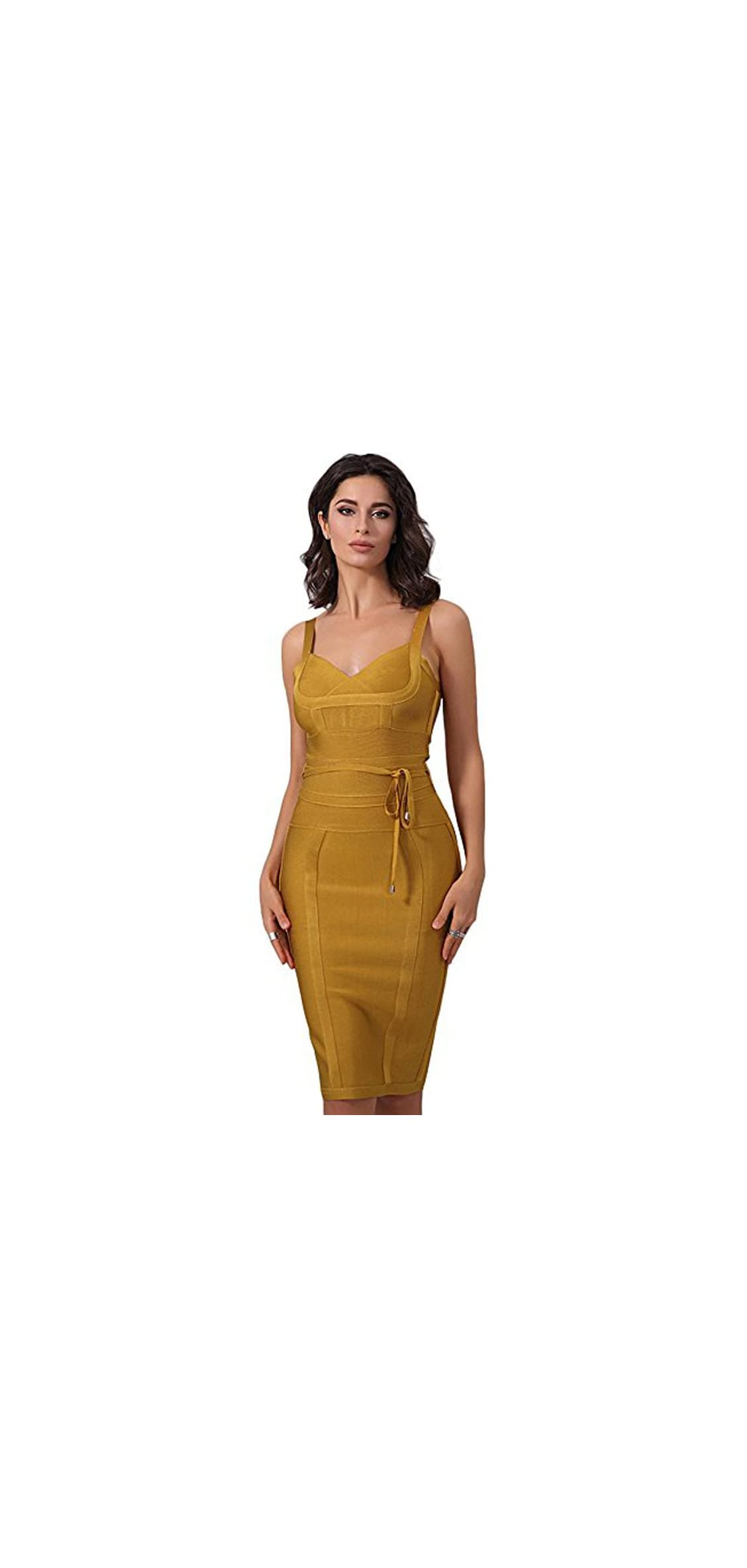 Women 's Spaghetti Strap Belt Detail Bandage Bodycon