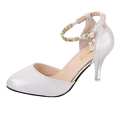 133ea856bcb962 OSYARD Femme Escarpins Bride Cheville Sexy Talon Aiguille Plateforme Epais  Fermeture Lacets Chaussures Club Soiree(