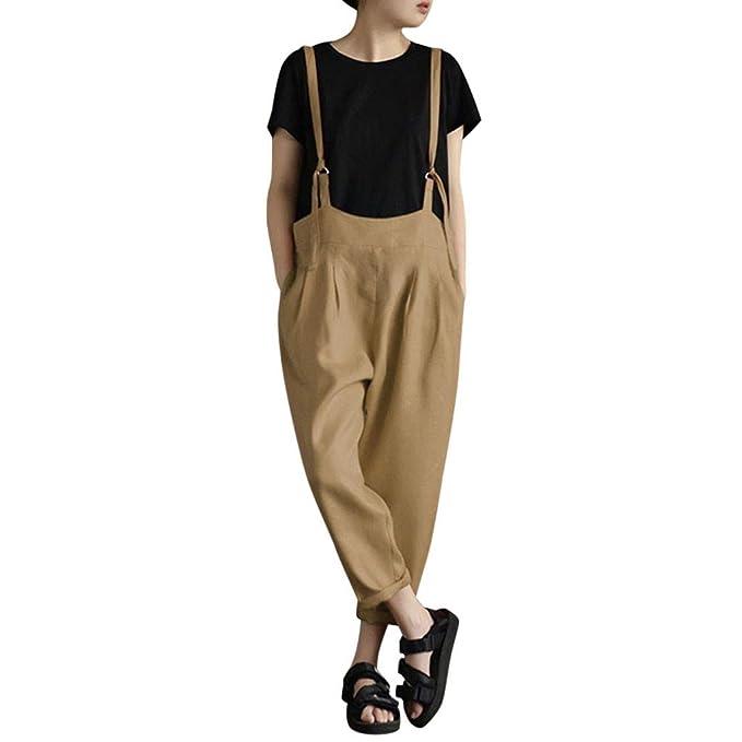 Topgrowth Pantaloni Tuta Donna Sciolto Casual Cascante Pantaloni con  Bretelle Pantaloni di Harnes Pantalone con Tasche Primavera  Amazon.it   Abbigliamento 16a71493904e