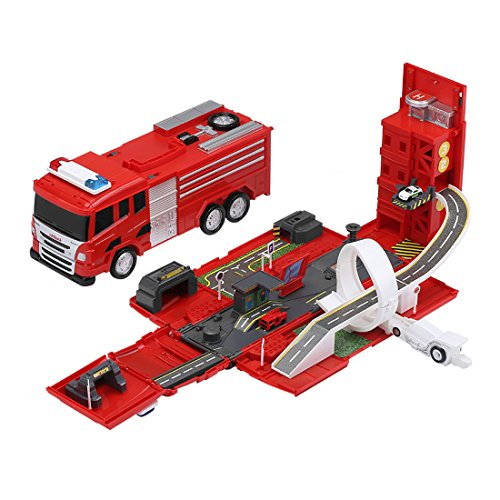 Virhuck Assembling Rail Cars Fire Truck Multi-functional Parking DIY Building Car Vehicle City Track Sets with Fire Truck Light and Sound, Assembling Tracks Toys Models Vehicle Playsets for Kids