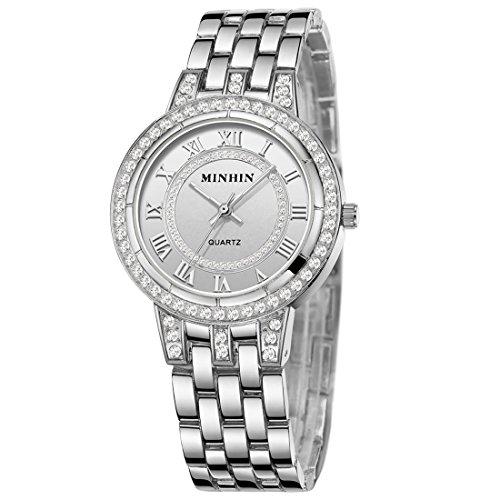 MINHIN Iced-out Studded with Diamond Wrist Watch Women Men Hip Hop Watch (Silver) by MINHIN