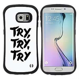 """Pulsar iFace Series Tpu silicona Carcasa Funda Case para Samsung Galaxy S6 EDGE , Trate Saber Concentrado Blanco Negro Texto Inspiring"""""""