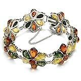 Multicolor Amber Sterling Silver Large Flower Bracelet 8''