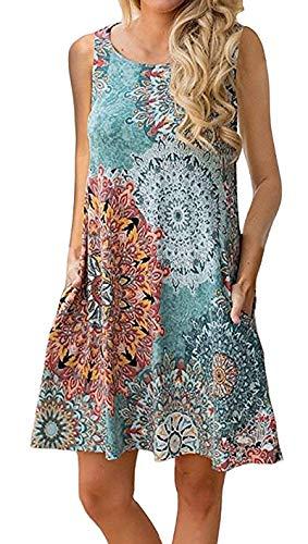 Jijie Women's Summer Floral Print Casual T Shirt Dresses Bohemian Beach Cover up Plain Tank Dress with Pockets Blue