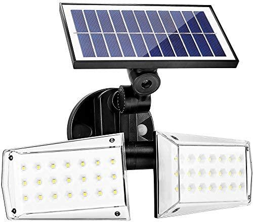JIOR Solar Motion Sensor Flood Lights IP65 Waterproof Outdoor Security Light with 42 LED Two Head Adjustable