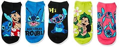 Disney Women's Lilo & Stitch 5 Pack No Show Socks