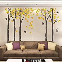 Fymural 5 Trees Wall Decal - Forest Mural Paper for Bedroom Kid Baby Nursery Vinyl Removable DIY Sticker 103.9x70.9,Orange+Brown