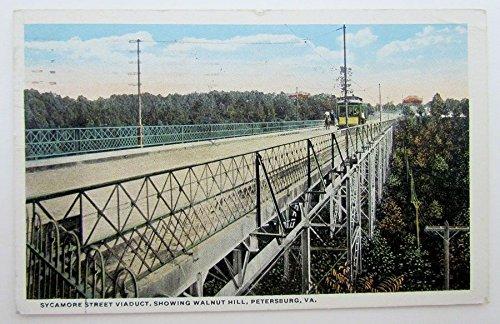 (VINTAGE 1918 POSTCARD SYCAMORE STR. VIADUCT PETERSBURG VA train railroad railway)
