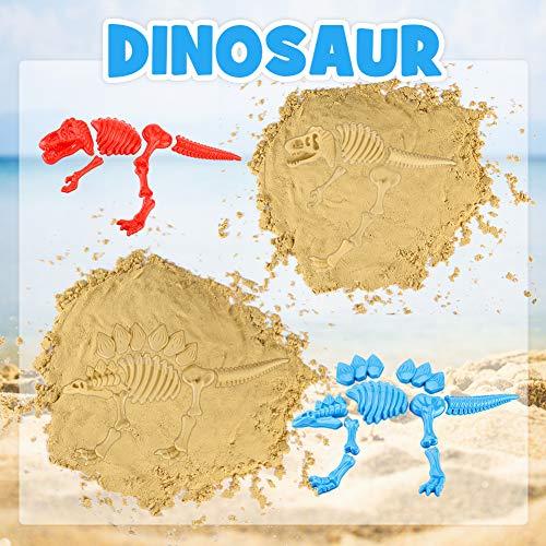 3 otters Beach Toys Set, 25pcs Dinosaur Castle Sand Toys Infant Beach Castle Toys Foldable Beach Bucket