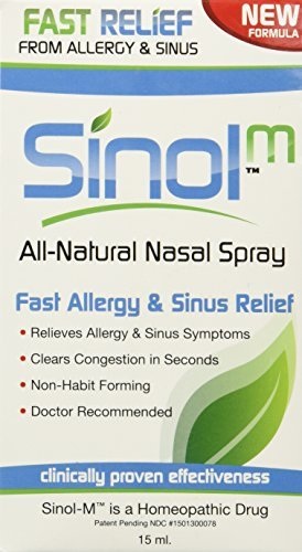 Sinol-M Fast Allergy & Sinus Relief All Natural Nasal Spray 15 ml (Pack of 3) -  Sinol USA, Inc