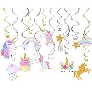 30 Ct Party Decorations For Unicorn Party, Unicorn Hanging Swirl Decorations, Unicorn Party Supplies, Unicorn Birthday…
