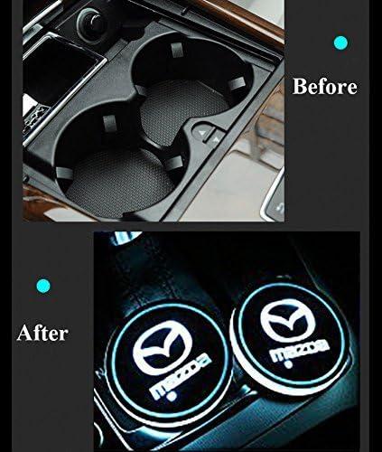 Hyundai Lot de 2 Coussinets de Protection pour Voiture LED 7 Couleurs Changing USB Charging Mats Bottle Coasters Car Atmosphere