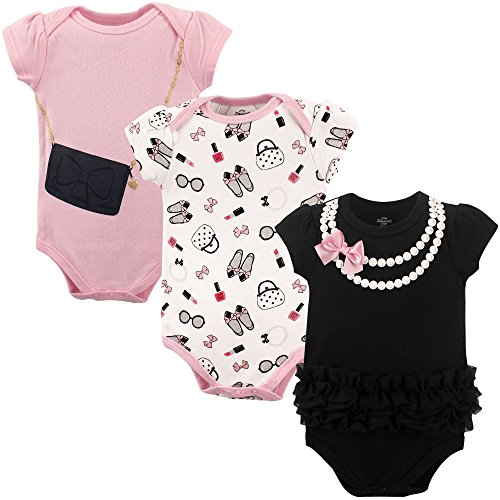 Little Treasure Unisex Baby Cotton Bodysuits, Pearls 3-Pack Short-Sleeve 6-9 Months (9M)