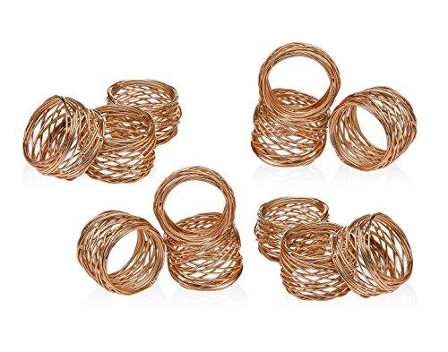 (SKAVIJ Round Mesh Napkin Rings Set of 12 Copper for Wedding Banquet Dinner Decor Favor)