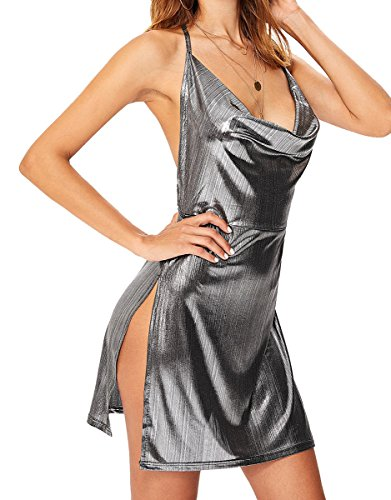 Floerns Women's Sexy Deep V-Neck Halter Backless Slit Mini Party Club Dress Silver ()